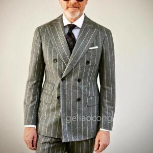 Latest Coat Pant Designs Gray Stripe Suits Men Double Breasted Formal Slim Blazer Skinny Custom 2 Piece Jacket Terno Masculino