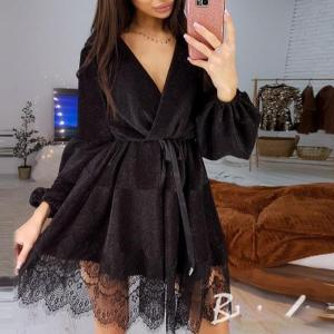Women Sexy Sashes Lace Patchwork Party Dress Ladies Long Sleeve v Neck a Line Club Dress 2020 New Spring Fashion Mini Vestidos