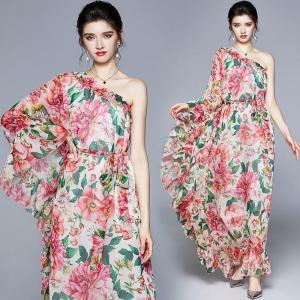 2021 Summer Holiday Loose Dress Plus Size Women One Shoulder Batwing Sleeve Bohemia Charming Print Ruffles Maxi Long Dress