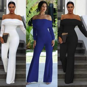 Long Sleeve Jumpsuits Mesh Patchwork Off Shoulder Dinner Party Slim Women Fashion Evening Celebrate Occasion Playsuits Rompers