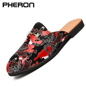 Luxury men shoes black leather Half Slippers men's casual shoes Handmade luxurious comfortable breathable spring fashion loafers