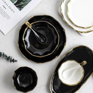 Black White  Golden Inlay Ceramic Dinner Plate  Snack Dishes Luxury Beef Dessert Tray Rice Soup Bowl Spoon Tableware Set