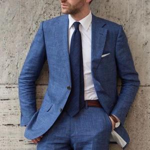 New Arrival Design Blue Summer Beach Linen Men Suit 2020 Slim Fit 2 Piece Tuxedo Custom Blazer Groom Male Suits Jacket+Pants