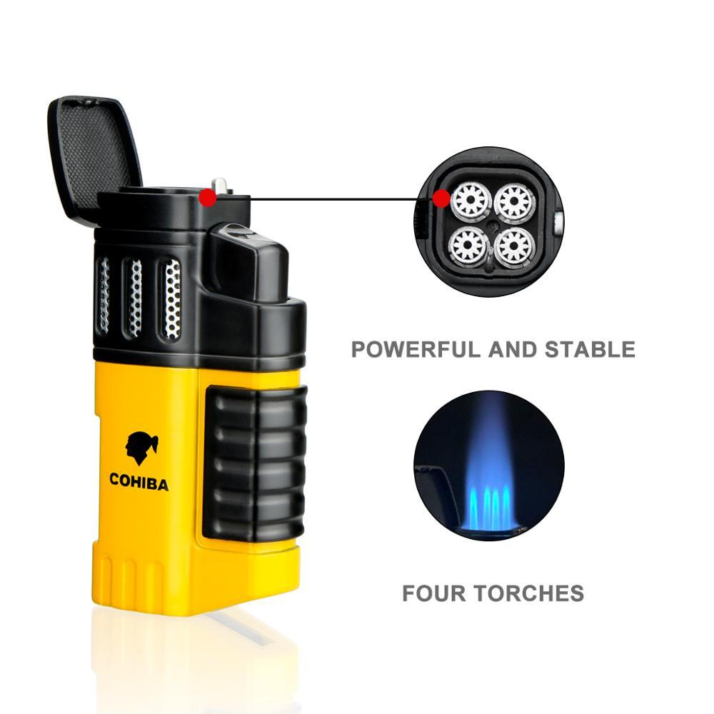 Christmas Present Cigar Ashtray Lighter Windproof Torch Jet Flame Cigar Accessoriesset Butane Gas with Punch Gift Box