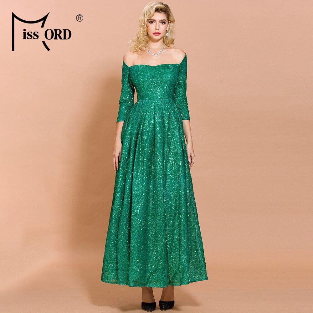 Missord 2021 Women Sexy Off Shoulder Long Sleeve Glitter High Split Dresses Female Elegant Maxi Dress  FT19836-1