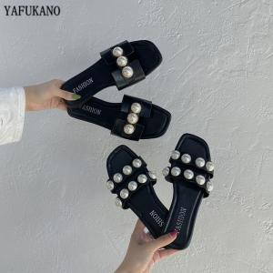 Summer Pearl Women Slides 2020 Flat Casual Slippers Open Toe Outdoor Beach Sandals