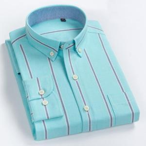 Men's Striped 100% Cotton Long Sleeves Shirt Turn-Down Button Collar Shirt High Quality Thick Stripes Casual Shirts