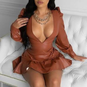 Sexy Women's Mini Dress PU Bandage Thin Ruffles Deep V-neck Faux Leather Dresses Female Autumn Winter Streetwear Ladies Vestido