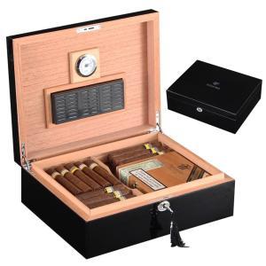 COHIBA Black Cedar Wood Cigar Humidor W/ Hygrometer Humidifier Glossy Piano Finish Wooden Humidor Cigar Box Fit 40-50 Cigar Case