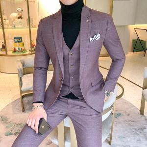 Size 5XL Men's Plaid Suit Sets 4 Colors Choose High-end Mens Business Wedding Party Dress Man Jacket with Vest and Pants