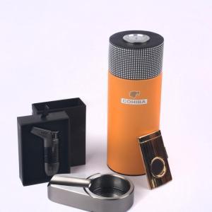 COHIBA  Leather Cedar Wood Lined Cigar Travel Case Mini Humidor Cutter Ashtray