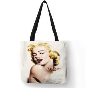 Customized Famous  Monroe Reusable Shopping Bag  Eco Linen Bags With Quotes Print Women Fashion Handbags