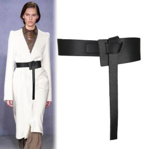 New Design Women Knotted Waistbands wide long PU leather Fashion Woman cummerbunds Dress Decorate brown Leather bow Buckle Gifts