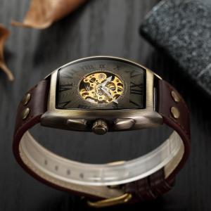 Shenhua 2019 Vintage Automatic Watch Men Mechanical Wrist Watches Mens Fashion Skeleton Retro Bronze Watch Clock montre homme
