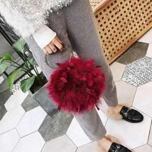 GinHae Luxury Handbag Ostrich Feather Women Circular Bag Small Chain Shoulder Crossbody Bags For Women Evening Party Clutch Bags
