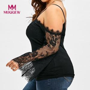 2018 Large Size Women Off Shoulder T-Shirt Lace Long Sleeve Casual Tops Lace stitching strapless T-shirt top long sleeve shirt