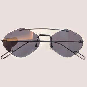 High Quality Sunglasses Women Cat Eye Rimless Mirror Round Sunglasses For Women Fashion Brand Designer UV400 Female Sun Glasses