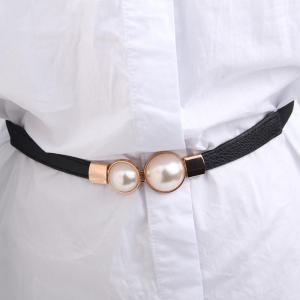 Fashion Thin PU Leather Belt Simulated Pearl Waist Belts Women Dress Strap skirt decoration fashion girdles gifts