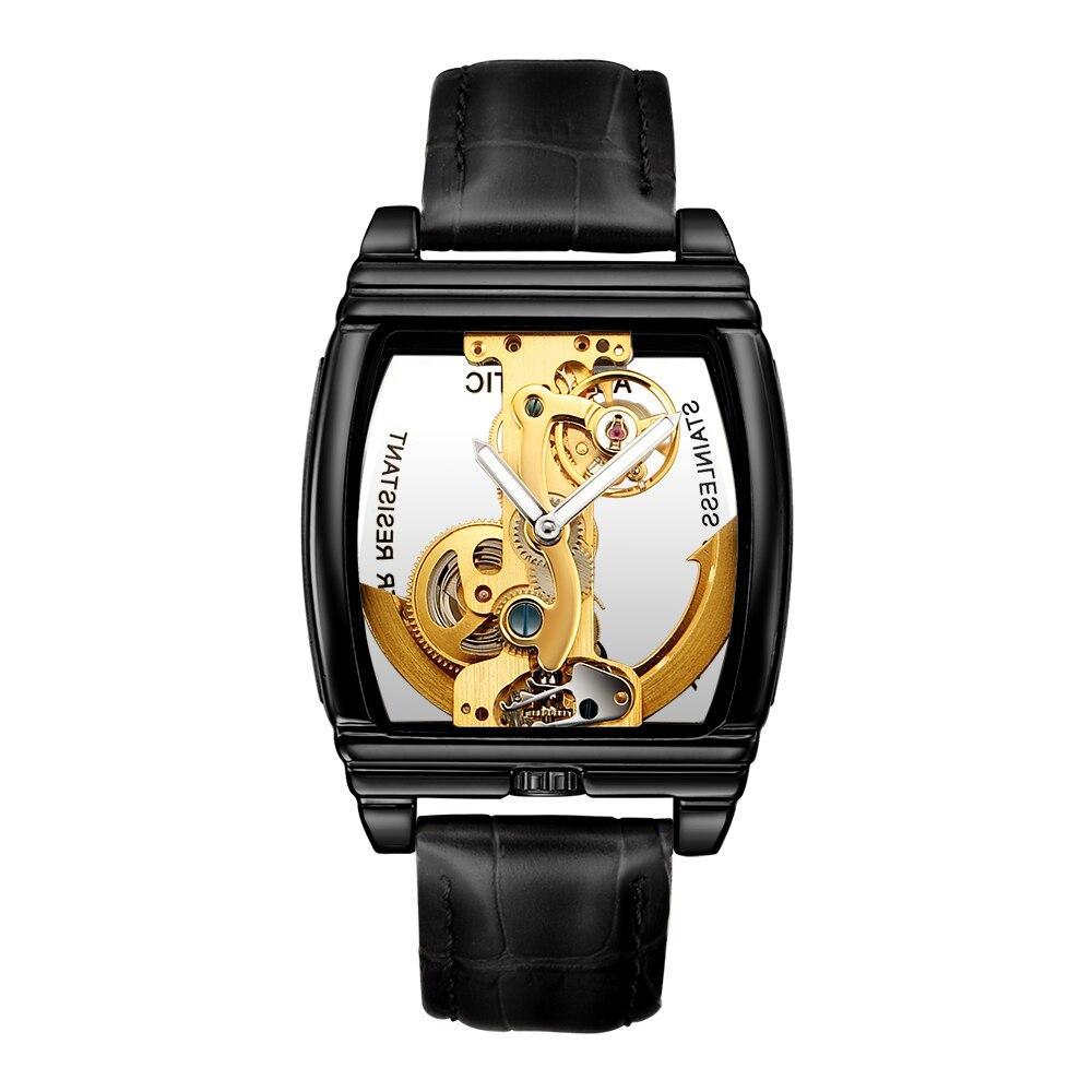 SHENHUA Male Clock 2019 Transparent Tonneau Case Auto Mechanical Mens Skeleton Wrist Watch Genuine Leather Band Erkek Kol Saati