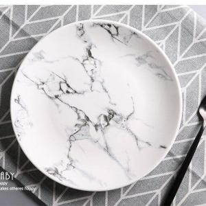 8*inch Marble Texture Printed Bone China Dinner Plates Cake Dishes Plate Porcelain Pastry Fruit Tray Ceramic Tableware For Steak