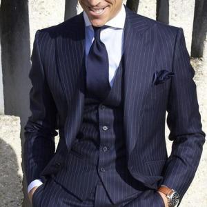 2019 Mens Suits with Pants Stripe Men's Blazer Slim Fit Wedding Male Groom Tuxedos suit Prom (Jacket+Pants+Vest) costume homme