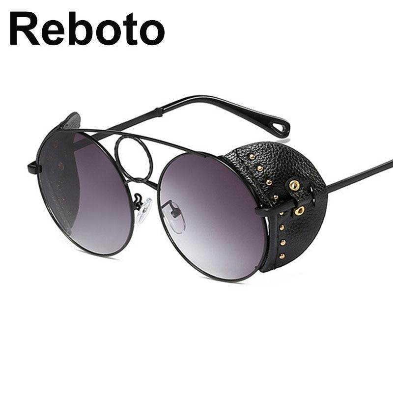 sunglasses women luxury Round Steampunk men's glasses fashion vintage Gradient Black women's sunglasses 2019 shades for women