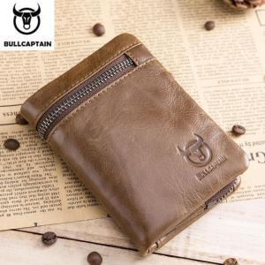 BULLCAPTAIN Short Tri-Fold Buckle Zipper Wallet Men's Cow Leather Wallet Coin Purse Money Bag Business Card Holder RFID Holder