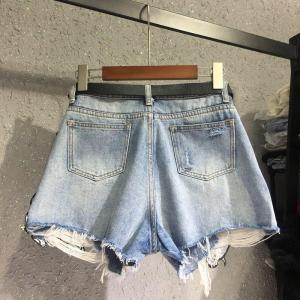 High Quality Cartoon Dumbo Sequined Diamond Denim Shorts New Summer Loose Wide Leg Hole Shorts Students Hot Shorts Women Casual