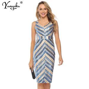 Sexy V neck sleeveless summer Dress Elegant stripe Sequins Dress women work office Night club party midi bodycon dresses vestido