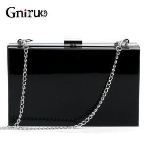Acrylic Day Clutch Bags Chain Women Shoulder Bag Elegant Lady Messenger Bag Party Evening Bags Handbags Purses Black
