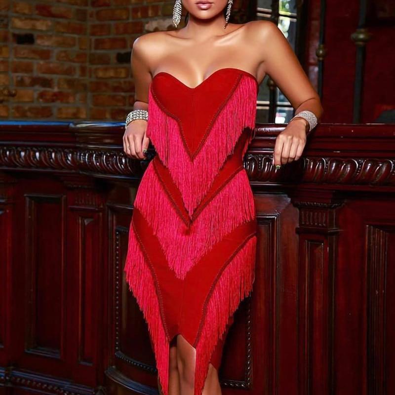 Party Dresses Women Evening Elegant Low Cut Red Tassel Dress Sexy Off Shoulder Sleeveless Backless Night Club Wrap Fringe Dress