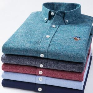Top Sell High Quality Pure Cotton Brushed Fabric Solid Color Casual Business Long Sleeve Formal Shirts Slim Red Green Blue Grey