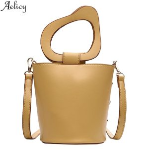 Aelicy Ladies Retro Solid Pu Bucket Messenger Bag Casual Chic Crossbody Bag Fashion Leather Handle Handbag Bolso De Mujer New