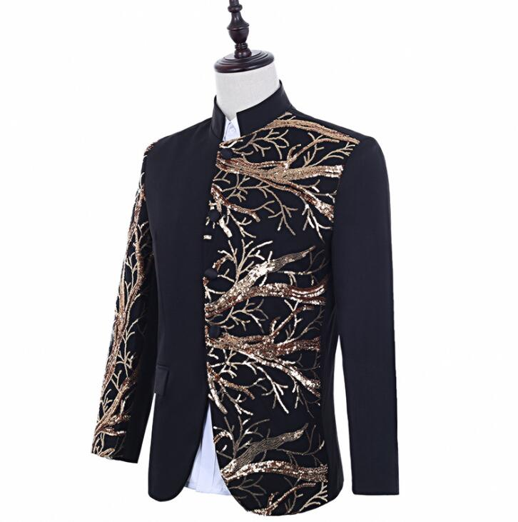 singers gold sequins blazer men suits stand collar jacket mens stage costumes clothes dance star style dress punk rock