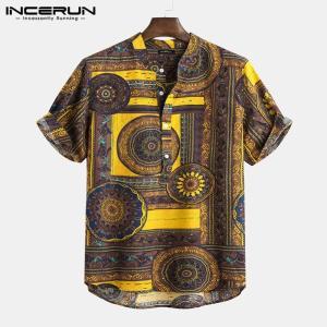 Men Shirt Ethnic Style Print Short Sleeve Stand Collar Camisa Masculina Casual Tops Streetwear Men Hawaiian Shirts 2021 INCERUN