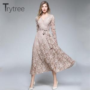 Trytree Summer Autumn Casual Shirt Dress Lace Polyester Sashes Mid-Calf Solid Women Dresses V-Neck A-Line Office Lady Dress