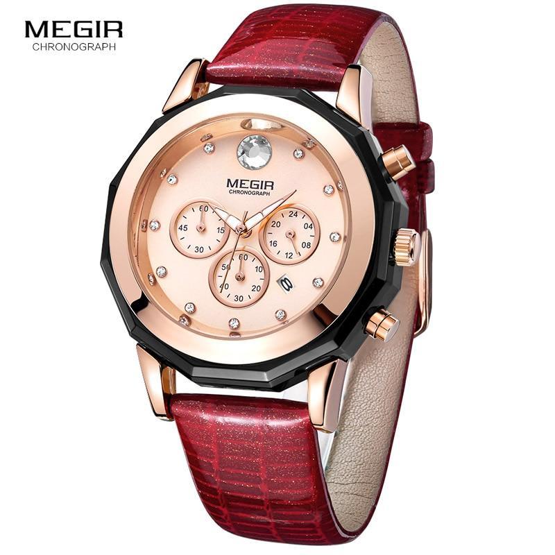 Megir Fashion Quartz Watch Women Luxury Chronograph Wrist Watch Lady Red Genuine Leather Strap Waterproof Relogio Femininos 2042