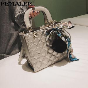 FEMALEE PU Leather Handbags Women's Designer Handbag Diamond Lattice Lady Hand Bag Tote Shoulder Bags With Fur Ball Scarves