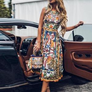Summer Dress For Women 2020 Sexy Sleeveless Retro Print O Neck Vintage Elegant Dress Casual Loose Floral Party Plus Size Dress