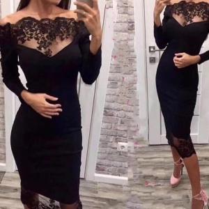 Seamyla 2019 New Women Bandage Dress Vestidos Slash Neck Lace Celebrity Party Dress Sexy Wine Red Black Bodycon Club Dresses