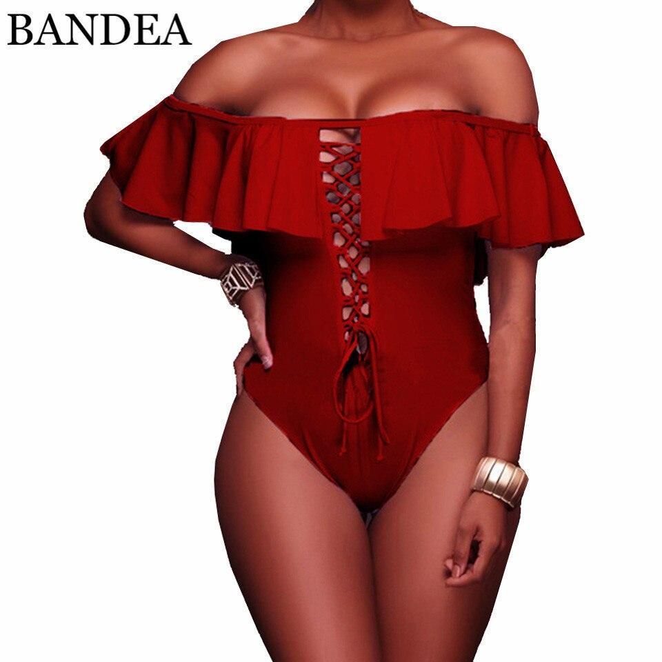 BANDEA One Piece Swimwear Women Sexy Bandage Swimsuit Solid Ruffle Bathing Suit Beach Off Shoulder Monokini Swimming Suit