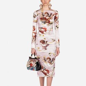 2019 New Runway Designer Angel Print Bandage Fold Dress Fashion Women Long Sleeve Bodycon Knee Length Elegant Dresses Vestidos