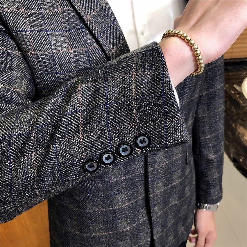 Autumn Mens Long Sleeve Blazers Business Casual Male Lattice Blazer Jacket Slim Fit Grid Suit Coats Male S-3XL