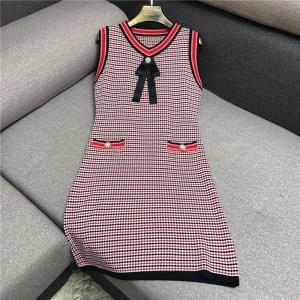 Luxury Designer Brand Knitted Dress for Women Casual O Neck Sleeveless Diamond Bow Striped Knitted Dress