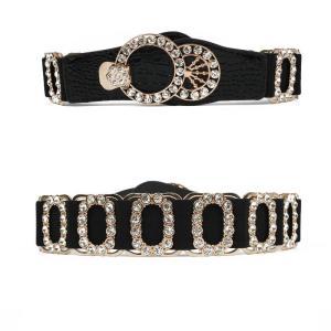 Fashion Rhinestone Wide Belt For Women High Quality PU Leather Wild Dress Accessories Cummerbunds Black Slim Wide Elastic Belts