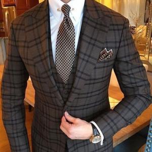 Mens Vintage 3 Piece Grey Plaid Suits Notch Lapel Men Slim Fit Suits Groomsmen Tuxedos Wedding Suits(jacket+pant+vest)