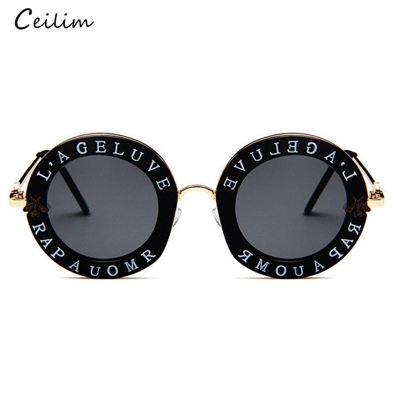 Retro Round Sunglasses Women 2020 Luxury Brand Designer Bee Metal Frame Circle Sun Glasses Fashion Female Clear Shades Oculos