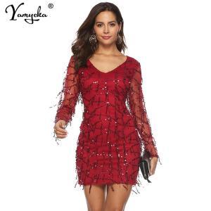 Sexy Red midi Sequins Summer dress women Mesh Long sleeve bodycon dress elegant vintage Party Dreses vestidos Night club clothes