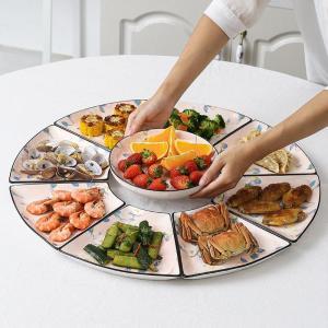9 Pcs Ceramic Combination Plate Set Flat Bottom Platter Porcelain Tableware Underglaze Color Suitable Oven Dishwasher CZY1041
