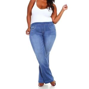 Large Size Flares jeans 6XL Womens Stretched High Waist Jeans Plus Size Femme Skinny Blue Jeans Women female Winter Pants D30